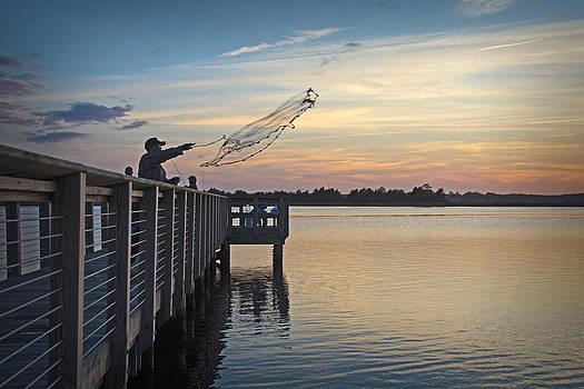 Cast Net Sunset by Phil Mancuso