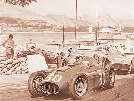 Castellotti Moss Fangio Ascari - Lancia D50  Mercedes Montecarlo 1955 by Alberto Ponno