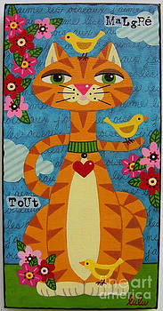Cat and Three Yellow Birds by LuLu Mypinkturtle