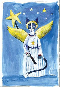 Cat Christmas Angel by Barbara Lightner