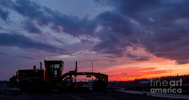 Alanna DPhoto - CAT Grader Sunset Silhouette