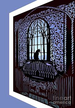 Cat in the Window Paper Cut by Nancy Michalak