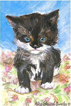 Cat On Bedspread by Alice Grimsley
