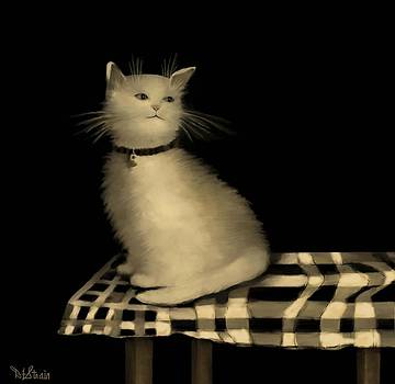 Cat on Checkered Tablecloth   No. 1 by Diane Strain
