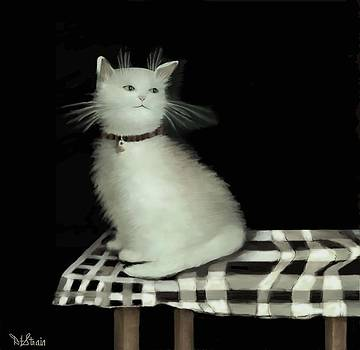 Cat on Checkered Tablecloth   No. 2 by Diane Strain