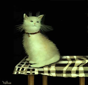 Cat on Checkered Tablecloth   No. 4 by Diane Strain