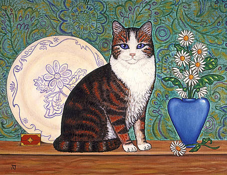 Linda Mears - Cat With Daisies