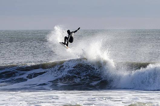 Catching Air Belmar NJ Winter Surf by Maureen E Ritter