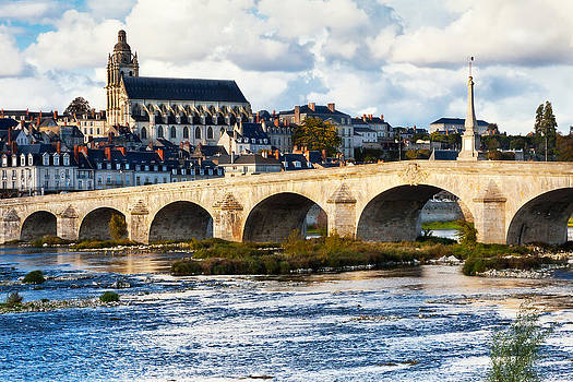 Cathedral and Bridge at Blois France by Kirk Strickland