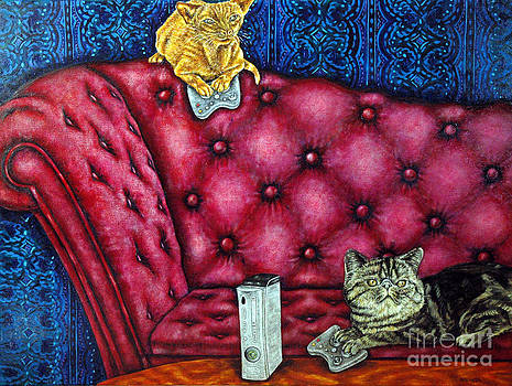 Cats Playing X Box by Jay  Schmetz