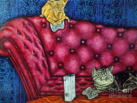 Cats Playing X Box by Jay  Schmetz