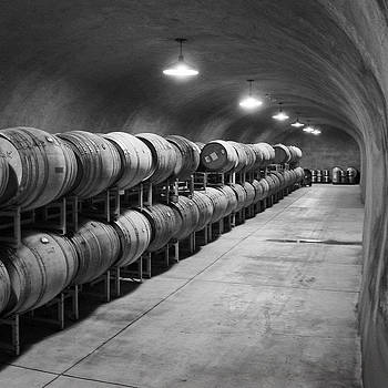 Cave Storage of Wine Barrels by Kent Sorensen