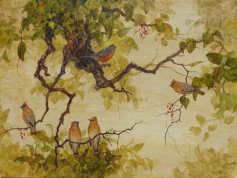 Cedar Waxwings and a Robin by Floy Zittin