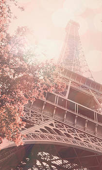 Cell Phone Case Pink Eiffel Tower  by Janelle Yeager