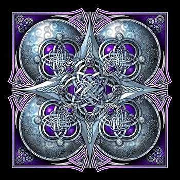 Celtic Hearts - Purple and Silver by Richard Barnes
