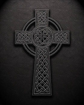 Celtic Knotwork Cross 1 Black Leather Texture by Brian Carson