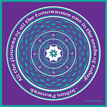 Celtic Lotus Mandala in Teal and Purple by Celtic Artist Angela Dawn MacKay