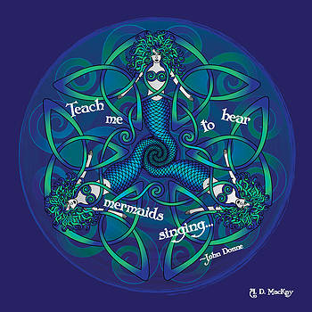 Celtic Mermaid Mandala in Blue and Green by Celtic Artist Angela Dawn MacKay