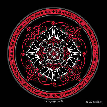 Celtic Vampire Bat Mandala by Celtic Artist Angela Dawn MacKay