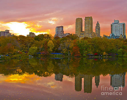 Central Park sunset in the fall by Kim Quintano