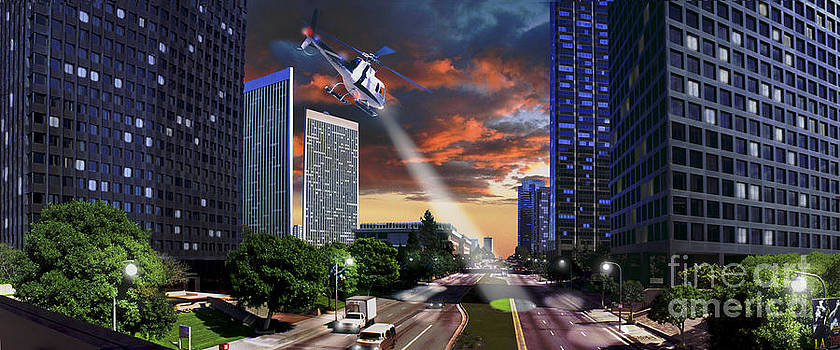 David Zanzinger - Century City Los Angeles CA Panorama Helicopter with Search Light on