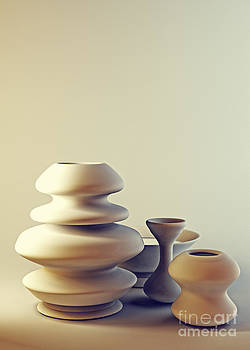 Beverly Claire Kaiya - Ceramic Pottery Still Life I - Light and Shadow
