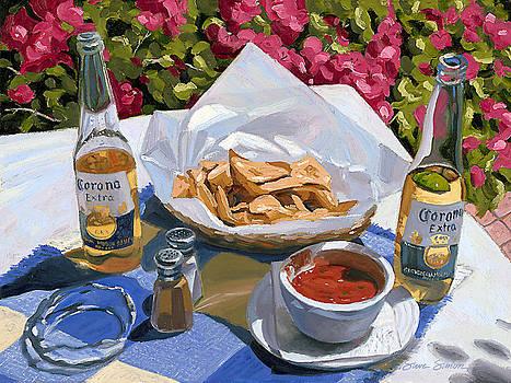 Cervezas y Nachos - Coronas with Nachos by Steve Simon
