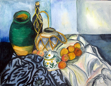Donna Walsh - Cezanne Still Life with Apples In Watercolor