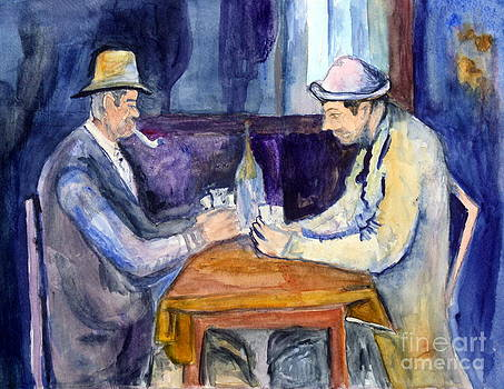Donna Walsh - Cezannes The Card Players in watercolor