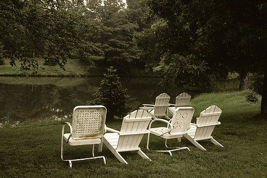Chairs by Pond by Jim Cotton
