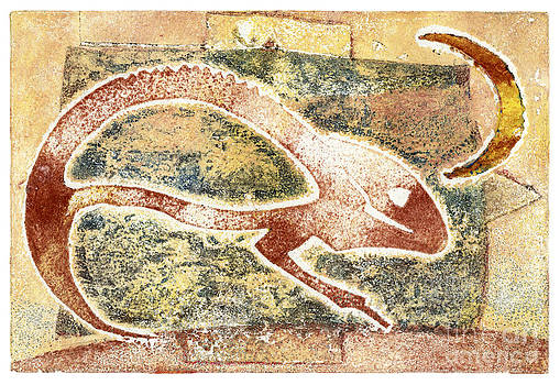 Chamaeleon - Reptile - Monotype - Camouflage - Half Moon - Mimes - Fine Art Print - Stock IImage by Urft Valley Art