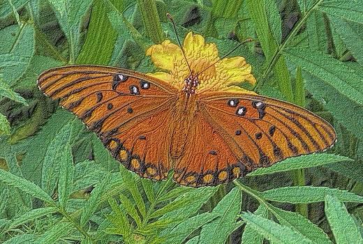 Charcoal Butterfly Garden by Annette Allman