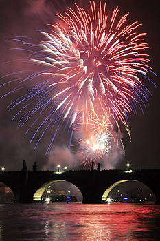 Charles bridge and New Year fireworks Czech Republic by Tomas Mahring