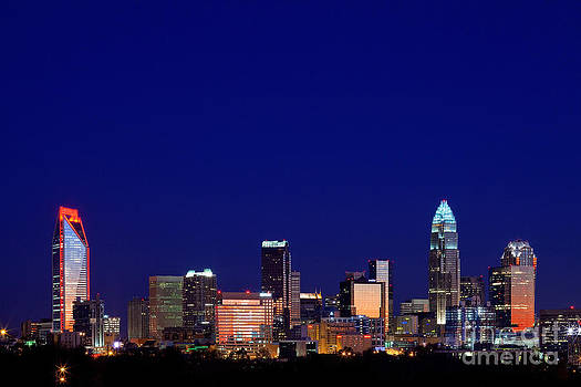Charlotte NC skyline at night by Patrick Schneider