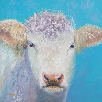 Jan Matson - Charolais cow painting by Jan Matson