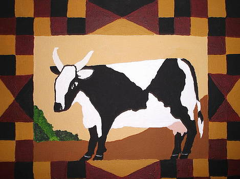 Checkerboard Cow by Lois D  Psutka