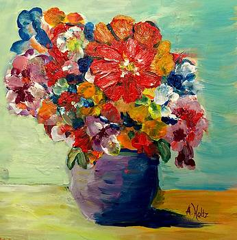 Cheerful Flowers In Pot by Arlene Holtz