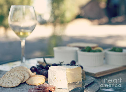 Cheese And Wine In The Afternoon Light by Gillian Vann
