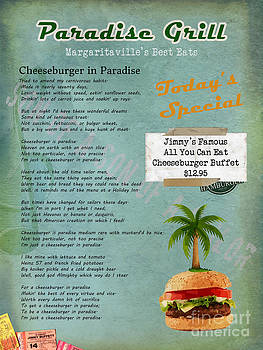 Cheeseburger in Paradise Jimmy Buffet Tribute Menu  by Nola Lee Kelsey