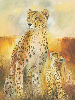 Cheetah and The Cub by Christiaan Bekker