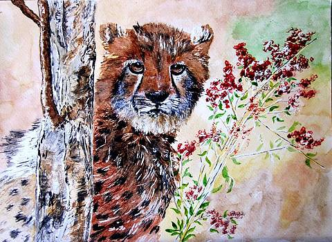 Cheetah Behind a Tree by Maris Sherwood