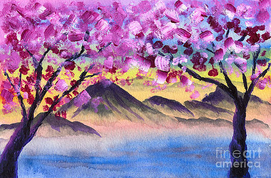 Beverly Claire Kaiya - Cherry Blossom Trees by the Lake at Dusk