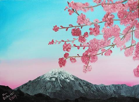 Cherry Blossoms between you and the mountains by Donald Schrier