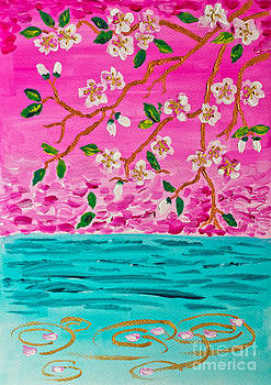 Beverly Claire Kaiya - Cherry Blossoms Branch with Water Ripples Acrylic Painting