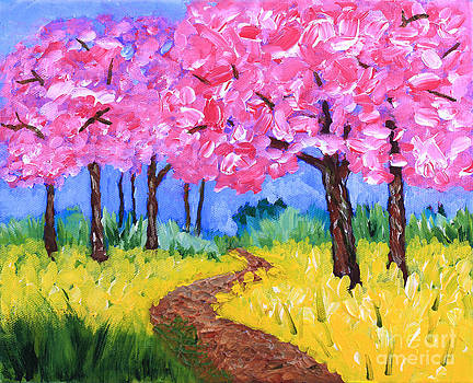 Beverly Claire Kaiya - Cherry Trees and Field Mustard After the Rain Acrylic Painting