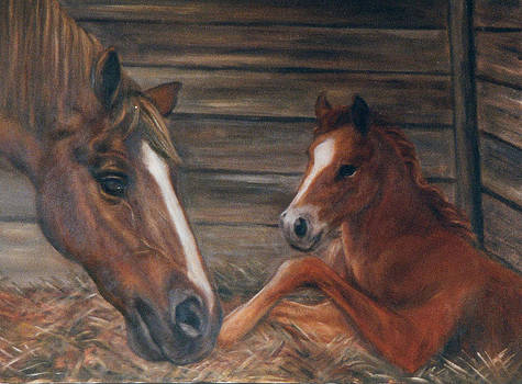 Chestnut mare and new baby by Terry Sita