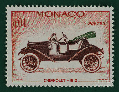 Chevrolet Little Four Vintage Postage Stamp Print by Andy Prendy