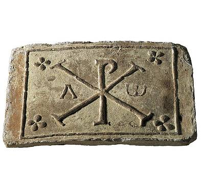 Chi Rho. Paleo-christian Art. Relief by Everett