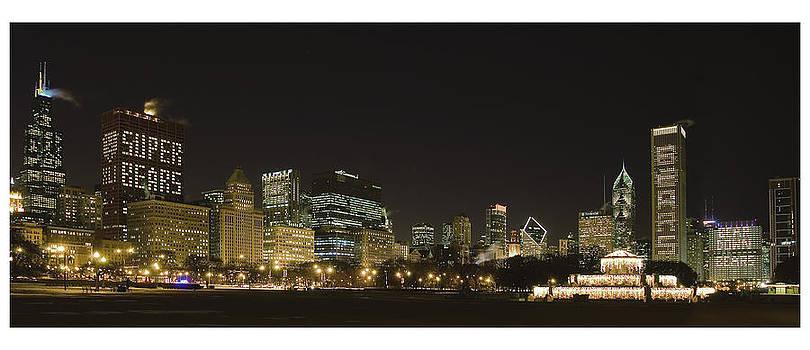 Chicago Bears-Chicago skyline by Patrick  Warneka