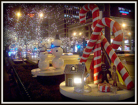 Chicago Christmas Candy Canes by J Anthony Shuff